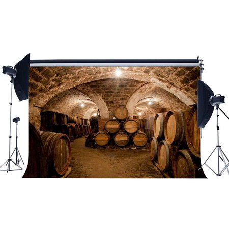 ABPHOTO Polyester 7x5ft Old Wine Cellar Backdrop Shabby Barn West Cowboy Backdrops Vintage Cast Barrel Grunge Arch Brick Wall Photography Background for Men Adults Portraits Photo Studio Props - Old West Props