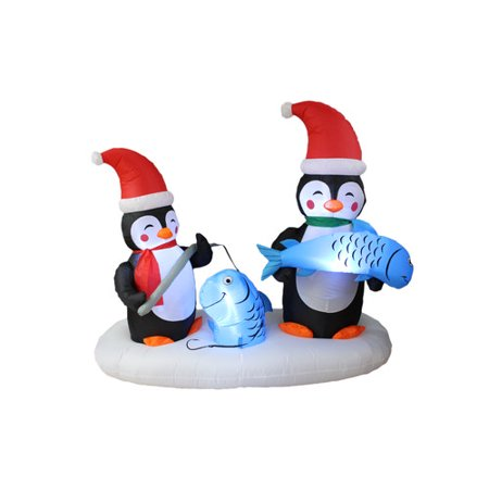 BZB Goods Christmas Inflatable Two Penguins Fishing Yard Decoration