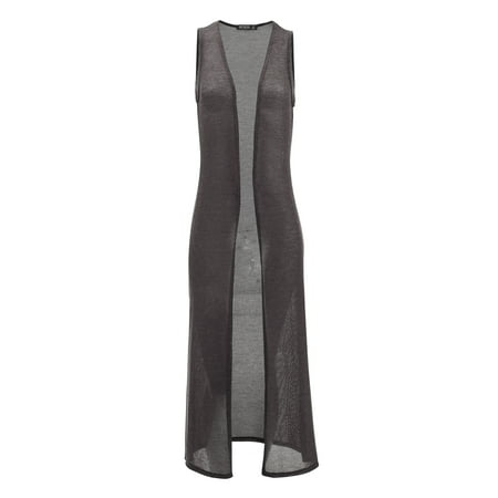 WSK1526 Womens Lightweight Sleeveless Long Cardigan Vest with Side Slit