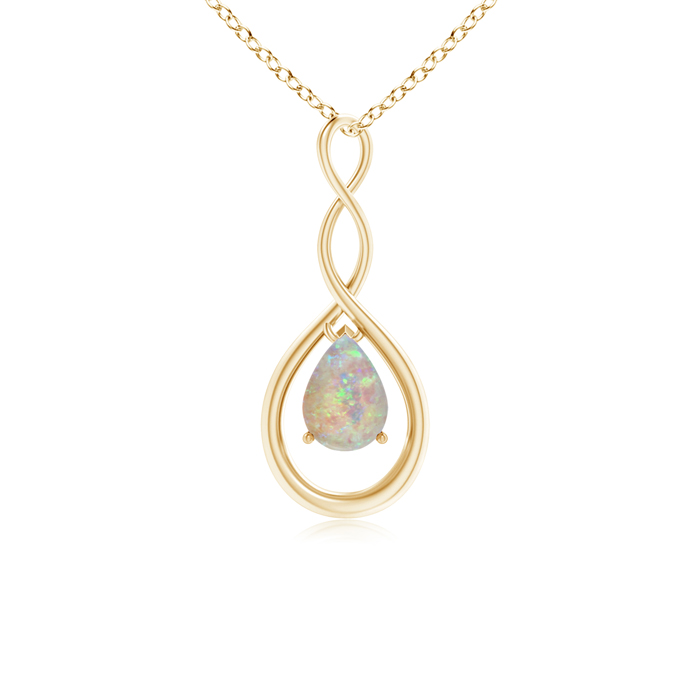 Angara Pear Shaped Opal Infinity Loop Pendant - October Birthstone Pendant cLWutqX7Yr