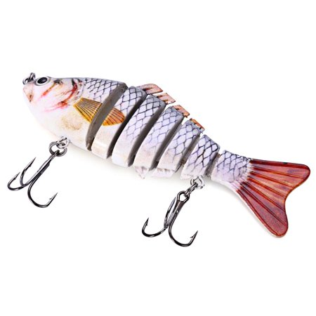10cm Fishing Lure Artificial Hard Bait 7 Jointed Sections Swimbait Red with White thumbnail