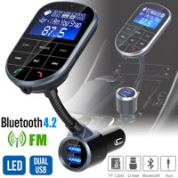 Bluetooth V4.2 FM Transmitter for Car, Wireless Bluetooth FM Radio Adapter 2 Ports USB Car Charger with Hands-Free Calling