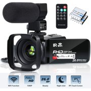 Video Camera Camcorder WiFi FHD 1080P 30FPS 26MP YouTube Vlogging Camera 16X Digital Zoom 3.0 Touch Screen Digital Camera Video Recorder with Microphone Remote Control Lens Hood Infrared Night Vision