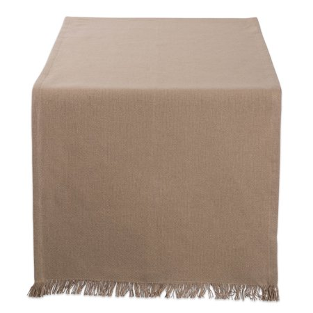 DII Solid Stone Heavyweight Fringed Table Runner, 108