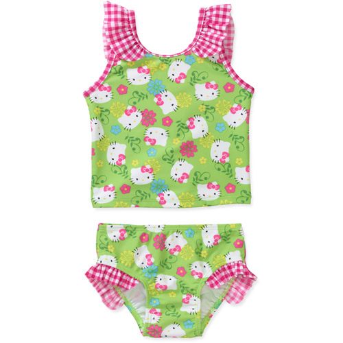 Hello Kitty Baby Girls' 2 Piece Gingham Tankini Swimsuit