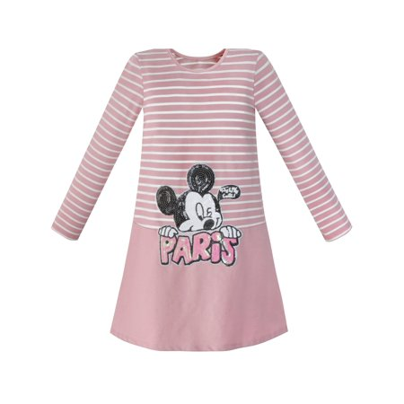Girls Dress Stripe Cartoon Embroidery Long Sleeve Cotton Dress 4