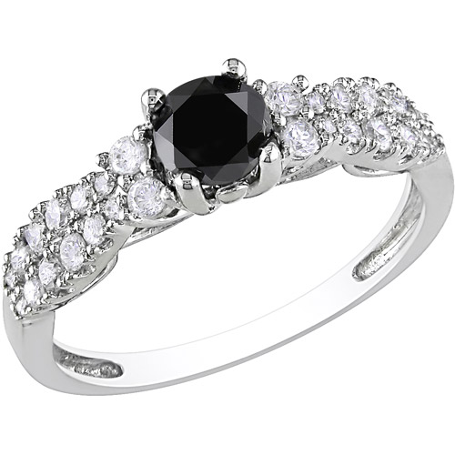 1 Carat T.W. Black and White Diamond 10kt White Gold Fashion Ring (5.5mm)