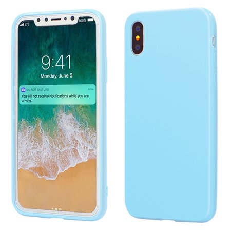 huge selection of 10f85 1e0d7 iPhone X Case, ANLEY Candy Fusion Series - [Shock Absorption] Classic Jelly  Silicone Case Soft Cover for Apple iPhone X (Sky Blue) + Free Ultra Clear  ...