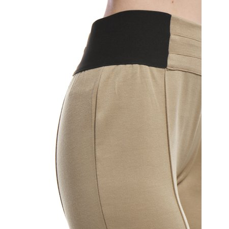 Unique Bargains Women Contrast Color Side Elastic Waist Stretchy Leggings Beige XS - image 3 de 6