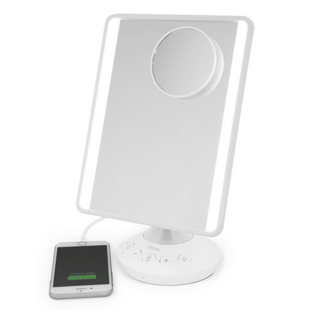 "($80 Value) iHome Mirror with Bluetooth Audio, LED Lighting, Bonus 10x Magnification, Siri & Google Support USB Charging 7"" x 9"""