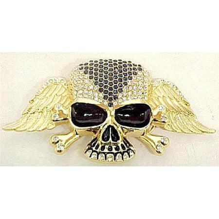 Gold Skull Belt (Blue / Clear Rhinestone Gold Winged Skull Belt)