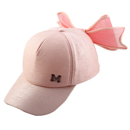 Woman Cotton Blends Bowknot Decor Adjtable Baseball Sun Visor Hat Cap