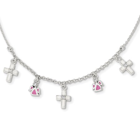 (925 Sterling Silver Enamel Cubic Zirconia Cz Cross Religious Angels Childs Chain Necklace Pendant Charm For Women)