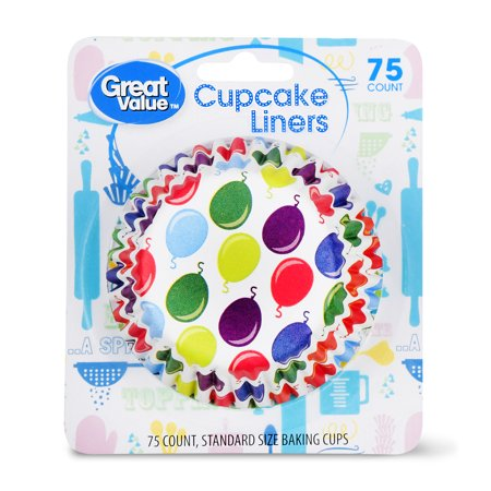 Striped Cupcake Liners (Great Value Cupcake Liners, Balloon Print, 75)