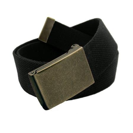 Boys School Uniform Style Antique Brass Flip Top Buckle with Canvas Web Belt Small (Designer Style Belt Buckle)