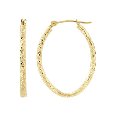 10kt Yellow Gold Diamond-Cut Oval Hoop Earrings ()