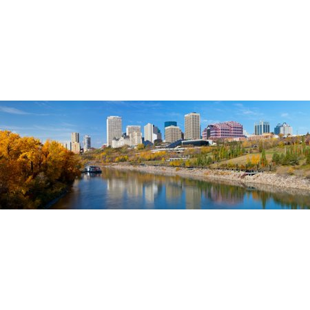 Reflection of skylines in a river North Saskatchewan River Edmonton Alberta Canada Canvas Art - Panoramic Images (13 x 36)