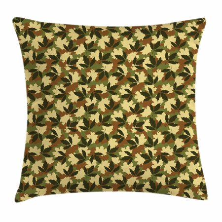 Forest Green Throw Pillow Cushion Cover, Leafage Pattern with Military Army Theme Camo Style Forest Woodland Hiding, Decorative Square Accent Pillow Case, 16 X 16 Inches, Multicolor, by Ambesonne