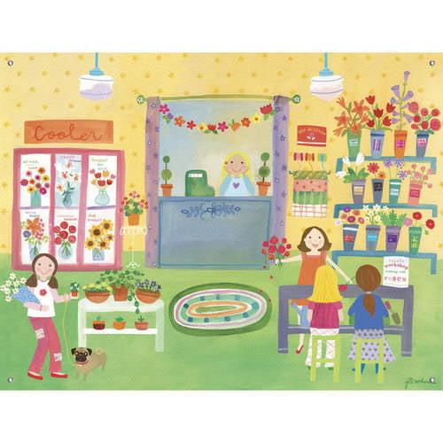 Oopsy Daisy - Flower Shop Canvas Wall Mural 42x32, Jill McDonald