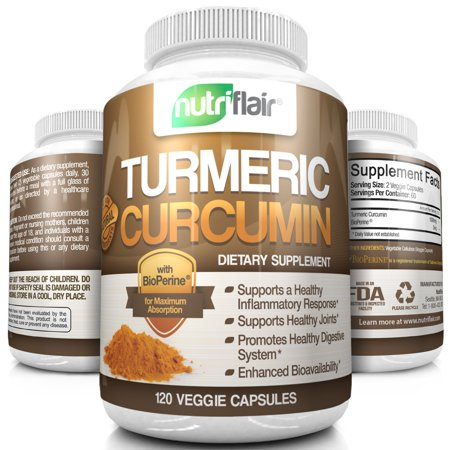 Nutriflair Turmeric Curcumin With Bioperine Black Pepper  1000Mg Turmeric Capsules   Highest Potency Pain Relief  Joint Support  Non Gmo  Gluten Free  120 Capsules