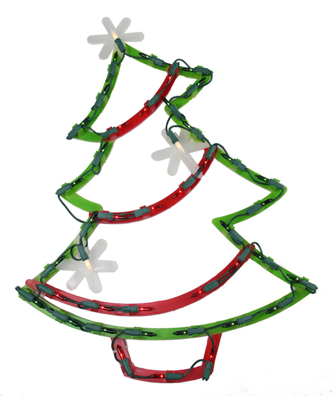 """18"""" Lighted Christmas Tree with Star Ornaments Window ..."""