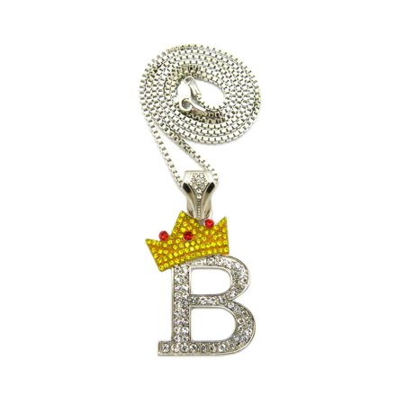 Tilted Crown on Initial B Pendant w/ 24