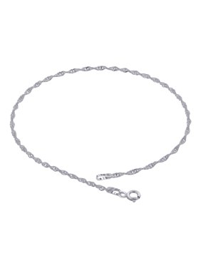 d55a5809906 Product Image Gem Avenue 925 Sterling Silver Singapore Chain Anklet with  Spring Ring Clasp