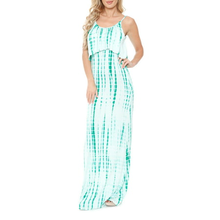 Tie Dye Empire Dress (Women's Tie Dye Overlay Maxi Dress )