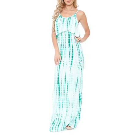 Silk Tie Dye Dress - Women's Tie Dye Overlay Maxi Dress