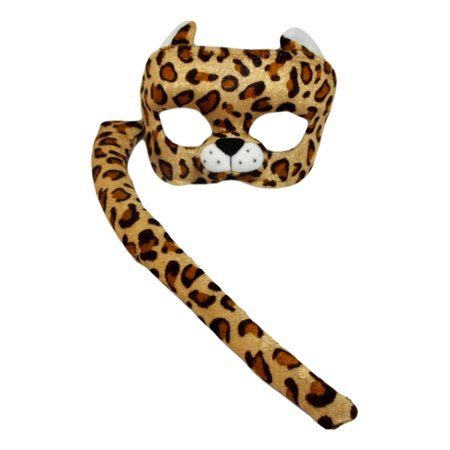 Child Leopard Costume Set Plush Mask and Tail (Halloween Cat Mask And Tail)