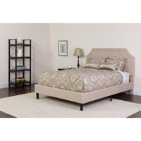 Twin Size Arched Tufted Upholstered Platform Bed in Beige Fabric