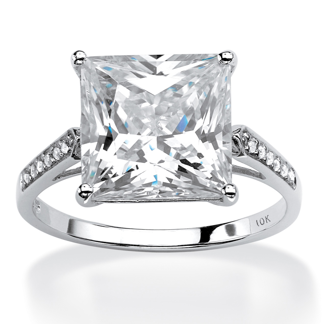 PalmBeach Princess-Cut Cubic Zirconia Engagement Ring 3.3...