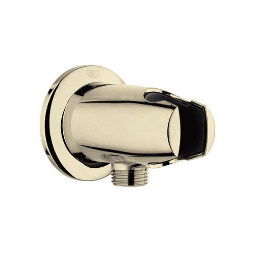 Grohe Movario Wall Union With Hand Shower Holder In Polished Brass