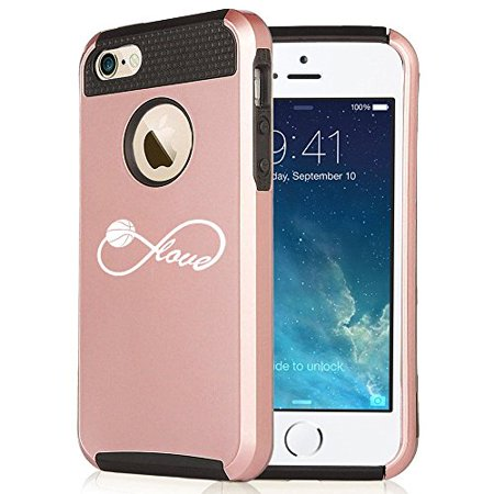 Apple iPhone 6 Plus / 6s Plus Rose Gold Shockproof Impact Hard Case Cover Infinite Infinity Love for Basketball (Rose Gold / Black),MIP