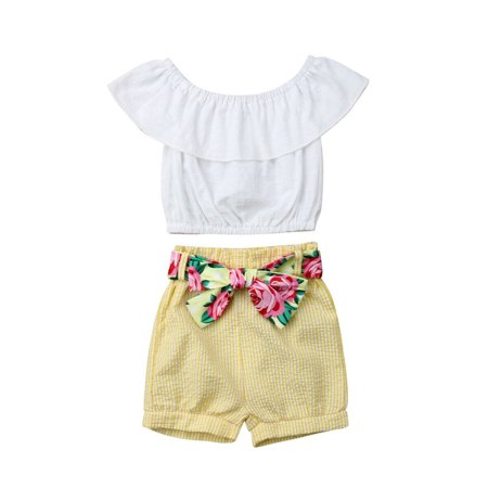 Toddler Kids Baby Girls Summer Casual Outfits Clothes T-shirt Tops+Shorts Pants 1-2 Years