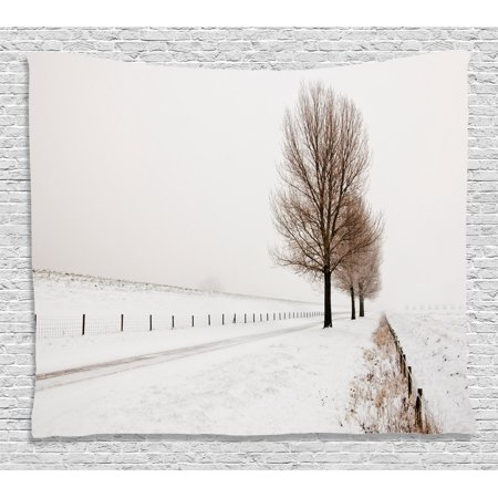 Farm House Decor Tapestry Row Of Large And Bare Beech Trees In Snow Covered Winter Frozen Photo Wall Hanging For Bedroom Living Room Dorm Decor 60w