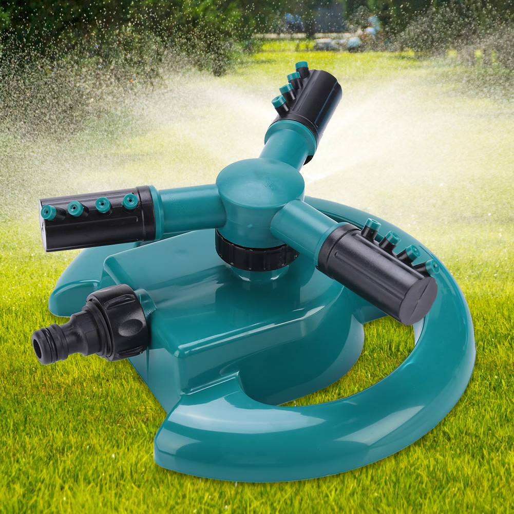 Dilwe 360° Fully 3 Nozzle Circle Rotating Watering Sprinkler Irrigation System  for Garden , 3 Nozzle Water Sprinkler, 3 Nozzle Irrigation Sprinkler