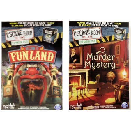 Escape Room the Game Welcome to Funland/Murder Mystery Expansion Pack Bundle - Halloween Escape Games