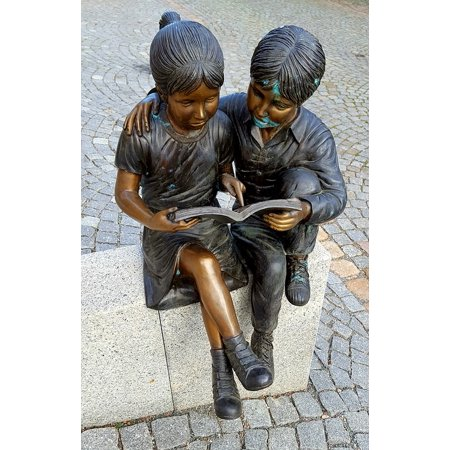 Framed Art For Your Wall Pair Bronze Art Sculpture Children 10x13 Frame