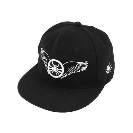 Unique Bargains Men Outdoor Adjustable Band Visor Wings Print Baseball Cap Hat White -