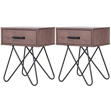 Gymax 2PC Nightstand Side End Coffee Table Storage Display Steel Hairpin Legs With Drawer ()