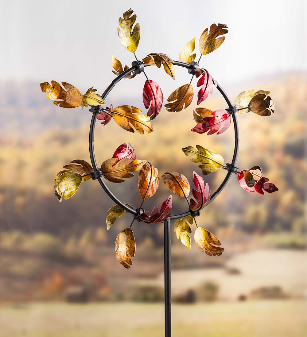 "Colorful Outdoor Fall Leaves Jubilee Garden Wind Spinner, 28""W x 9.5""D x... by Plow & Hearth"