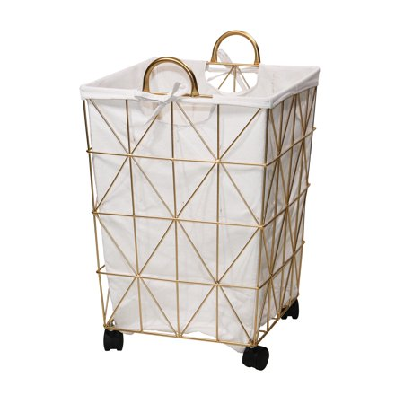 Mainstays Square Symmetrical Pattern Metal Hamper with Wheels, Gold and Natural ()