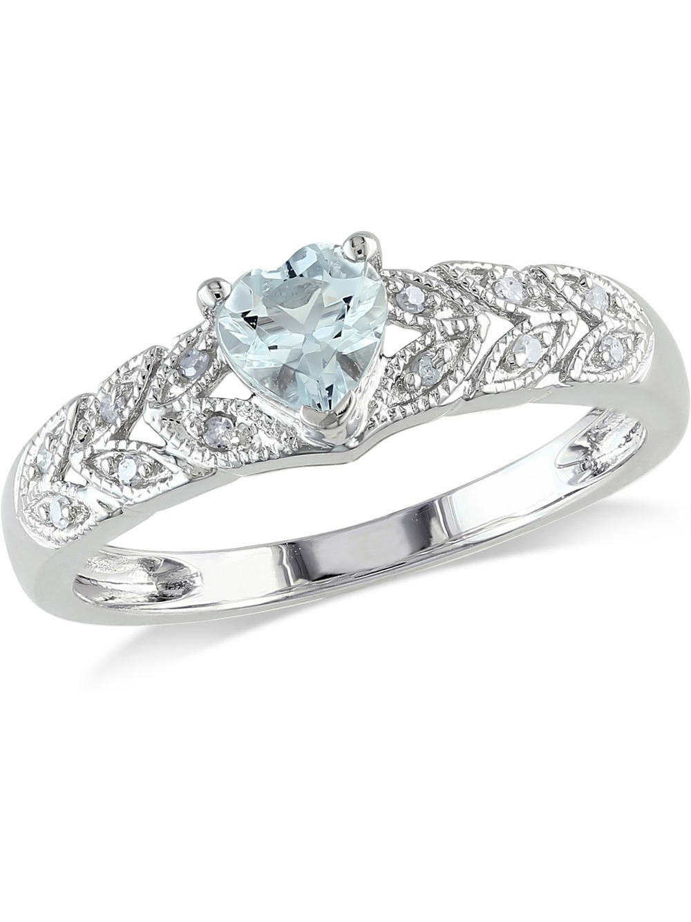 Aquamarine Heart Ring 2/5 Carat (ctw) with Diamonds in Sterling Silver