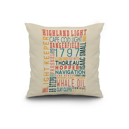 Massachusetts - Highland Light House Typography - Lantern Press Poster  (20x20 Spun Polyester Pillow, Custom Border)