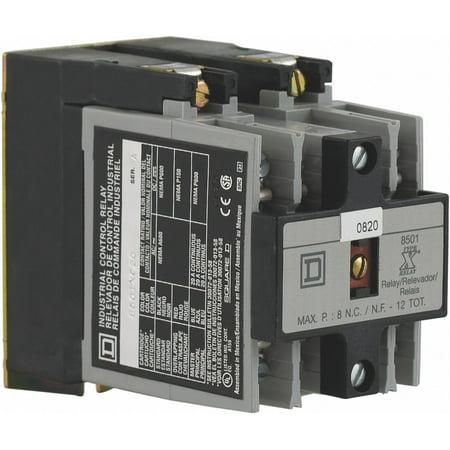 NEMA Style Control Relay, 120VAC, 10A @ 120/240/480/600V, 5A @ 125/250V, 6 Pins