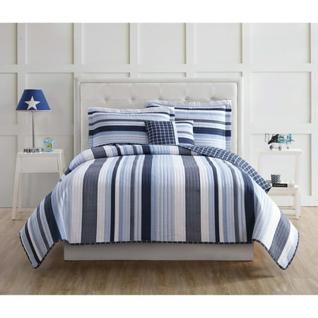 World Twin Hugger - My World Mason Stripe Twin Quilt Set with BONUS Decorative Pillow