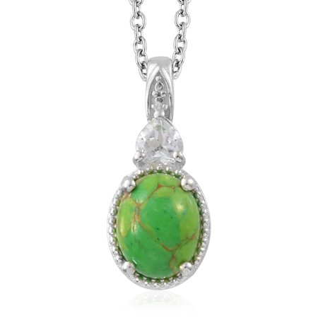 Mix Metal Oval Green Turquoise White Topaz Pendant Necklace 20