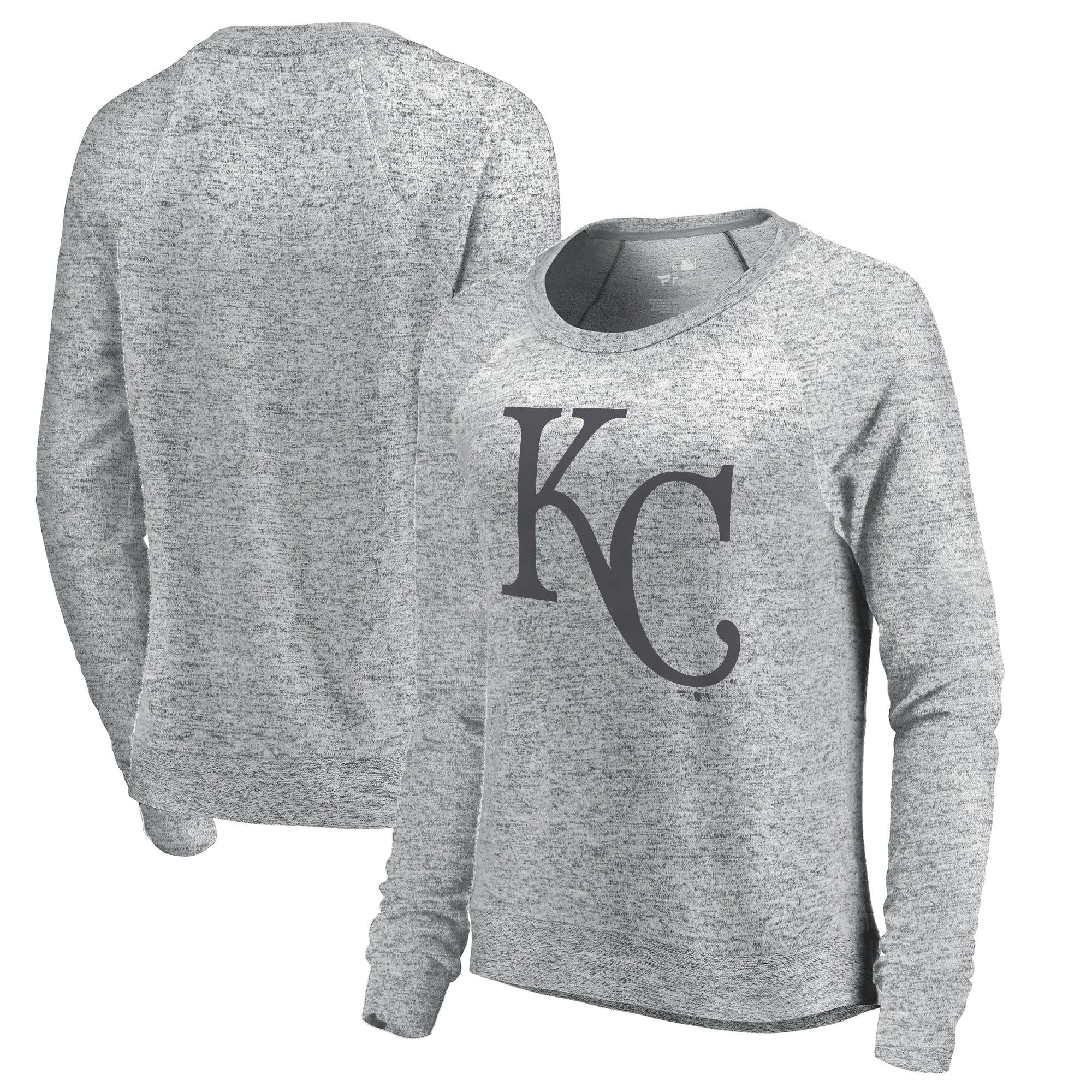 Kansas City Royals Let Loose by RNL Women's Cozy Collection Plush Raglan Tri-Blend Sweatshirt - Ash