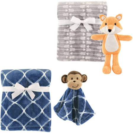 Hudson Baby Boys' Plush Blanket (2-Pack) with Plush Toy and Security Blanket, Choose Your - Baby Blanket Toy